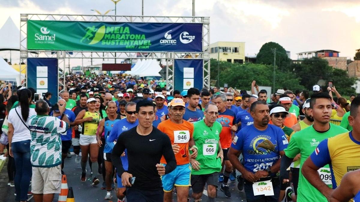 Largada da meia maratona sustentavel do amazonas 21km